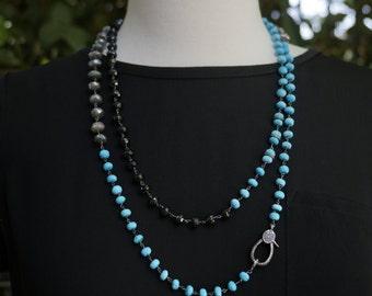 Turquoise Necklace - Labradorite Necklace - Black Spinel Necklace - Pave Diamond Clasp - Gemstone Necklace - Pave Diamonds - Layering - Gift