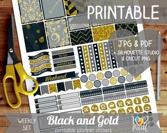New Year Printable Planner Stickers, Erin Condren Planner Stickers, Weekly Planner Stickers, Gold n Glitter EC Stickers, SILHOUETTE / CRICUT