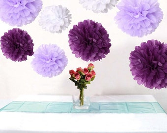 Bulk 18pcs Mixed Purple Lavender White DIY Tissue Paper Flower Pom Poms Wedding Baby Shower Nursery Hanging  Party Decoration