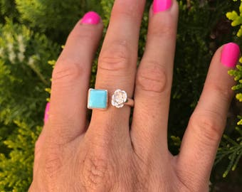 Turquoise & succulent ring. Sterling silver and turquoise jewelry • Succulent Jewelry