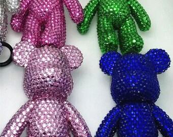 Rhinestone Sparkle Bear Keychains
