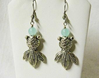 Koi and jade earrings - E0139-01