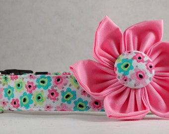 Dog Collar with Flower -  Flamingo Floral - All Sizes