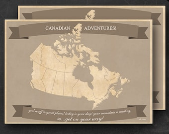 Canadian Travel Maps - Printable Canada Travel Map Instant Download - A1 Size Wall Art - 2 pack - With Text or Add your own text