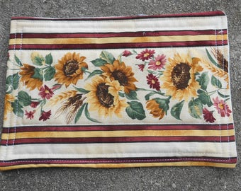 Sunflower Mug Rug - Sunflower Snack Mat - Quilted Mug Rug