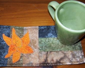 Applique Quilted Mug Rug PDF E-Pattern Tiger Lily