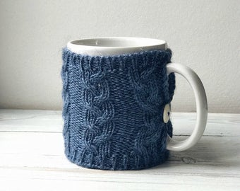 Mug Sweater, Cup Cozy, Reusable Coffee Sleeve Hand Protector, Drink Grip, Jeans blue