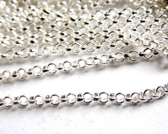 Silver Plated Rolo Chain Unfinished - 5 Feet - 22-27-1