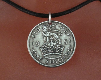 ENGLAND shilling necklace.  Great Britain. lion crown.  No.001376