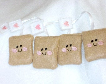 Felt play food - pretend food - play kitchen food - Smiley face tea bags set of 4 perfect for tea party #PF2502