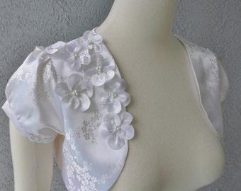 Bridal Wedding Cherry Blossom White Brocade Bolero Shrug Adorned With Same Fabric Flowers And Beads