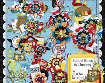 On Sale 50% Off Clusters - Digital Scrapbooking Kit School Rules Clusters - Digital Scrap Kit