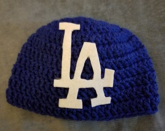 LA Dodgers beanie hat babies, child and adults crochet