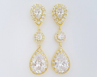Gold Crystal Bridal Earrings, Long Wedding Earrings, Teardrop Earrings, Gold Wedding Earrings, Wedding Jewelry, Penelope
