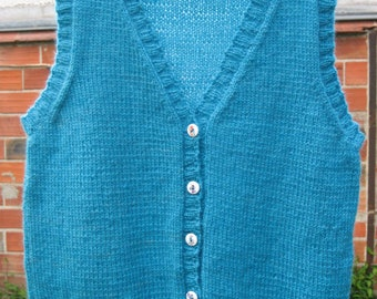 Buttoned, sleeveless vest, turquoise wool, size 14