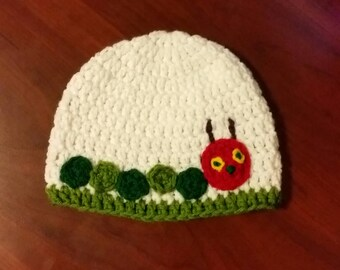 Crocheted Very Hungry Caterpillar hat
