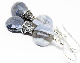 Australian Blue Opal Mystic Labradorite Gemstone, Sterling Silver Dangle Drop Earrings, Blue Gray Striped Earrings, Free Shipping, E18024