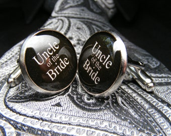 Uncle of the Bride Cufflinks - These cuff links are the ideal wedding gift as a keepsake for your uncle on your wedding day.