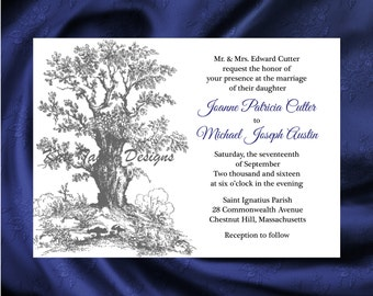 Oak Tree Wedding Invitation & RSVP - Oak Tree Wedding Invitations - Tree Invitations - Tree Design 24