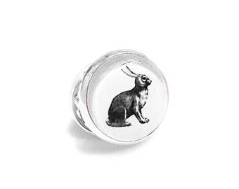 Rabbit Pin Brooch Tie Tack Bunny Hare Woodland Black and White