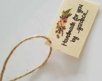 Natural Linen Label, Organic Linen Label , Multicolor Printed Organic Linen Label, Hanging Tag