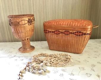 Vintage Wicker Sewing Basket Storage Basket with Lid and Handles: Beautiful!