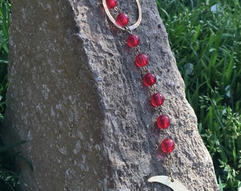 Crescent moon lariat necklace, upcycled rosary lariat necklace, bohemian necklace