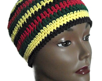 Reggae unisexe Stripes bonnet en Crochet