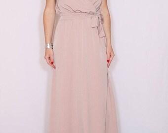 SALE Blush Bridesmaid dress Prom Dress Maxi dress Long dress Women dress Chiffon maxi dress Blush dress Wrap dress Long chiffon dress Weddin