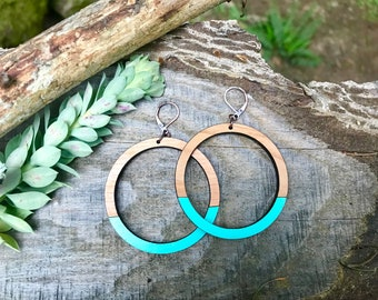 Wooden Earrings - Large Hoops