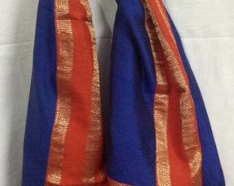 Royal blue,orange and gold  pure  silk stole/scarf- Indian pure  silk sari stole from India/ holiday gifts