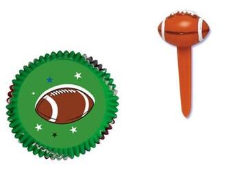 Football Baking Cups with Football Cupcake Picks