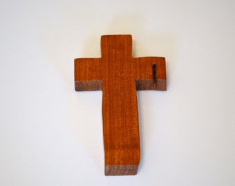 "Wood Wall Cross; Hand Held-4""x7""x1""; Handmade Crooked Cross;Made in Texas; Mesquite Wood; Christian Gift; Free Ground Shipping; cc15-2010417"