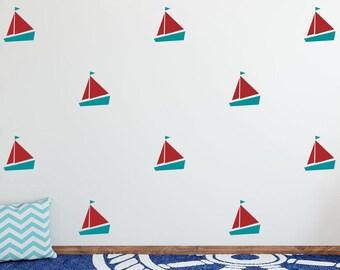 Sailboat Wall Decals - 2-Color Nautical Decals, Nursery Decals, Cute Nautical Wall Stickers, Boat Wall Decals