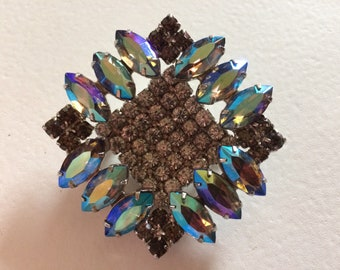 DELIZZA & ELSTER Fabulous Juliana Blue AB Rhinestone Brooch