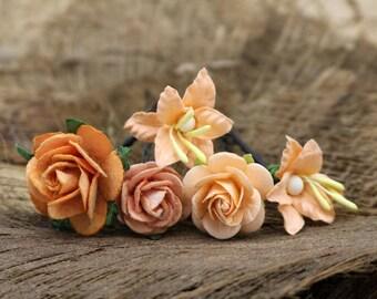 Set of 5 Orange Mulberry Paper Flower Hair Pins , Bridal Hair Pins, Hair Bobby Pins,U pins,Prom,Bridal Hair Accessories (FL373)