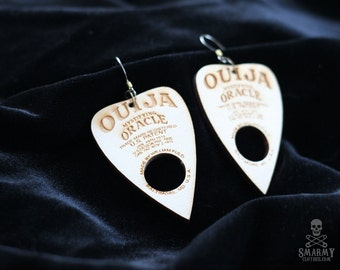 wood Ouija planchette earrings - smarmyclothes halloween gothic occult