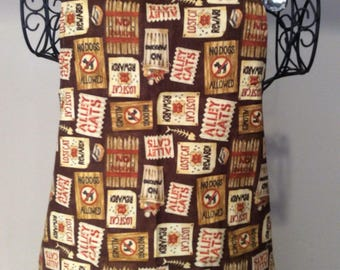 Full Apron ALLEY CATS   (red, brown, tan, cream)