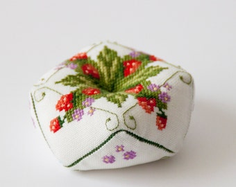 PIN CUSHION  with cross stitch strawberries