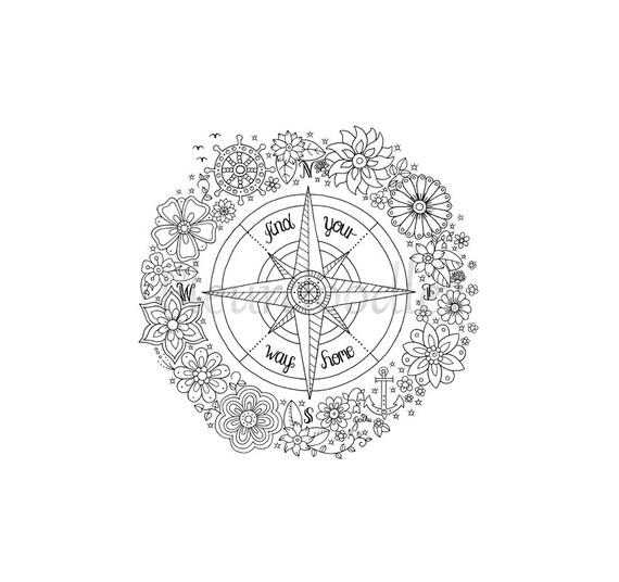Malseite zum Ausdrucken Kompass handgezeichnete