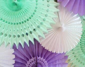 Tissue Paper Fans- baby shower, birthday party decor, wedding decorations, mint, light purple