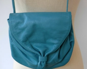 Vintage Debra Lynne For Clemente bag, cross body genuine leather purse, small teal handbag Bohemian woman bag, cross body bag, soft leather