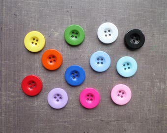 Large 35 buttons mixed colors 1.9 cm round