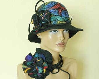 Colorful hat felted ,Fancy hat  Multicolor hat cheerful hat Fairytale hat Felt cloche Felt hat Hand felted