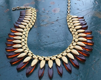 Vintage Coro Lucite Bib Necklace Egyptian Revival Rootbeer