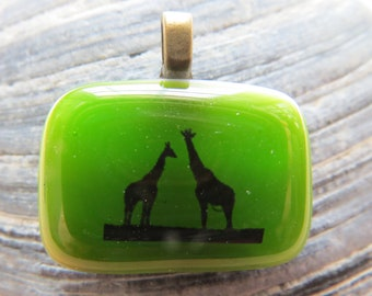 0058 - Green Fused Glass Pendant with Giraffes