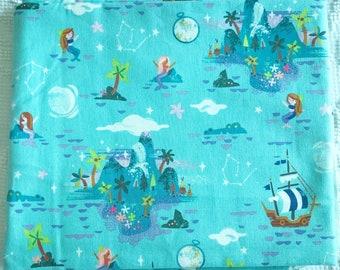 Riley Blake Neverland Island in Mint Aqua Peter Pan Mermaid Fabric Ships