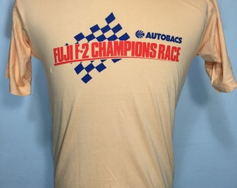 80's japanese vintage F-2 racing t shirt 100% cotton mens size large