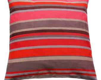 Pillow cover Happy stripes-fair trade, 100% cotton, 50 x 50 cm (colour-black red grey)