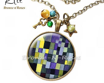 Necklace * tiles * table paul Klee yellow blue bronze cabochon glass costume jewelry
